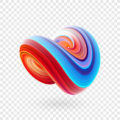 Vector illustration: 3D Colorful abstract twisted fluide shape. Trendy liquid design.