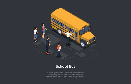 Vector Illustration. 3D Composition, Cartoon Style Isometric Design. Group Of Young People. Yellow Schoolbus, Driver Standing. Characters Near. Male And Female Students Waiting For Their Ride Home.