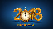 Vector illustration. 3d gold digits 2018, with an gold old clock instead of zero. Festive background for the new year. Element for the design of a greeting card for New Year