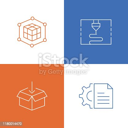 Vector Illustration 3D Printing and Modeling Related Thin Line Icons. Editable Vector Stroke.