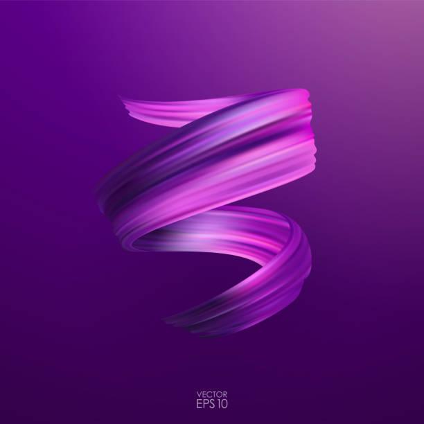 vektor-illustration: realistische 3d lila takt-öl oder acrylfarbe streichen. welle flüssigen form. trendiges design. - splash grafiken stock-grafiken, -clipart, -cartoons und -symbole