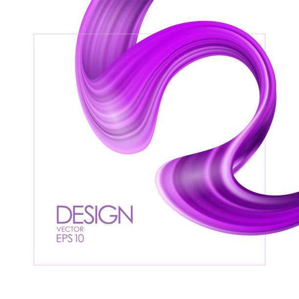 vektor-illustration: realistische 3d-hintergrund mit lila pinsel strich malen oder band. welle flüssigen form. trendiges design. - splash grafiken stock-grafiken, -clipart, -cartoons und -symbole