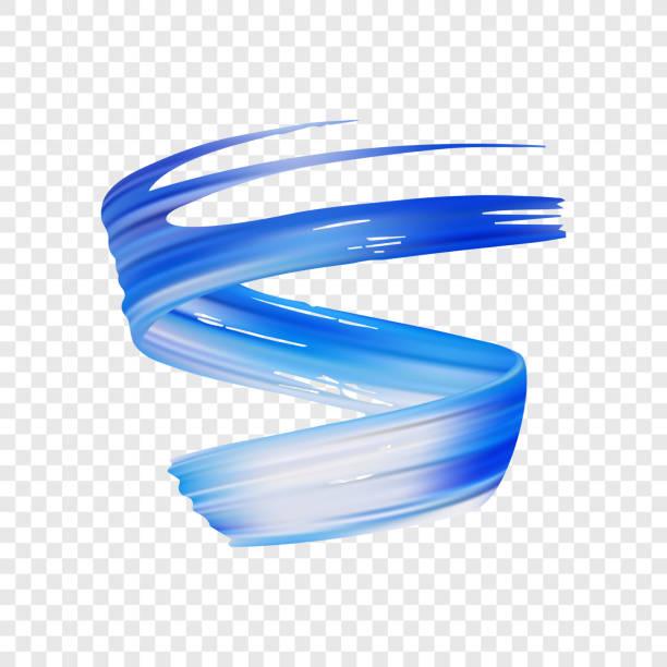 vektor-illustration: 3d realistisch blau takt-öl oder acrylfarbe streichen. welle flüssigen form. trendiges design. - splash grafiken stock-grafiken, -clipart, -cartoons und -symbole
