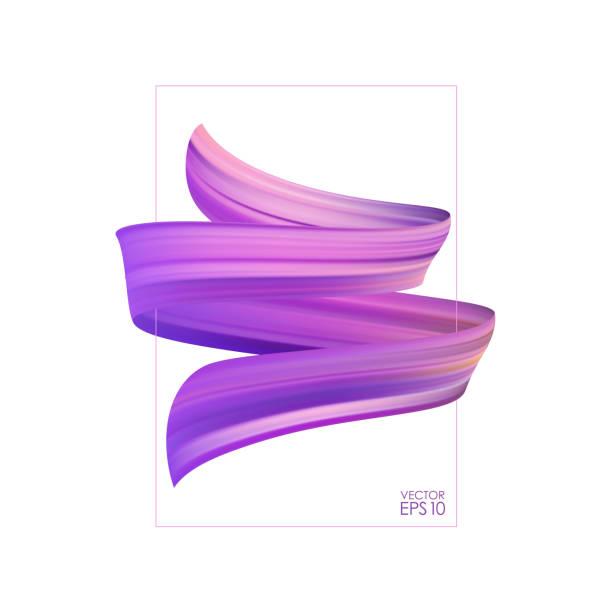 vektor-illustration: realistische 3d-pinsel streicheln, öl- oder acrylfarbe mit rahmen. welle flüssigen form. trendiges design. - splash grafiken stock-grafiken, -clipart, -cartoons und -symbole