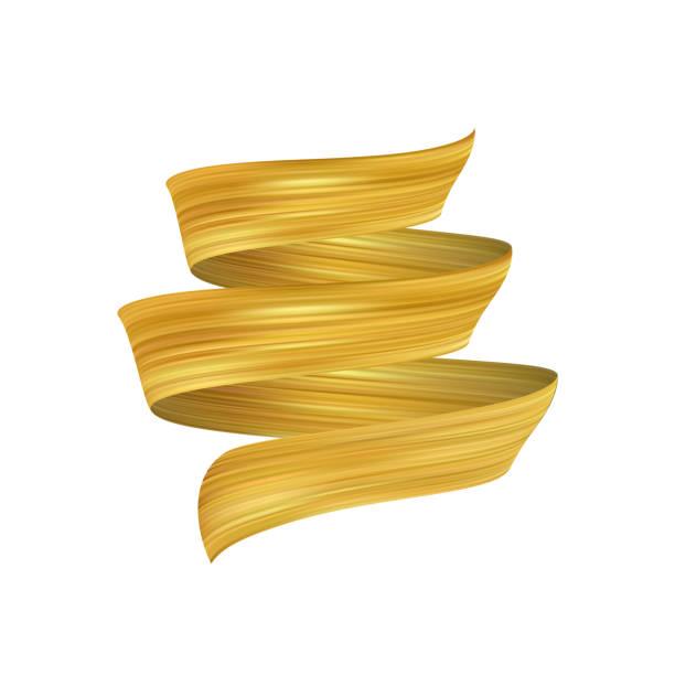 vektor-illustration: 3d realistisch golden pinselstrich. trendige luxus-design. - splash grafiken stock-grafiken, -clipart, -cartoons und -symbole