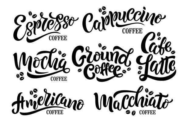 vector illustration 7 coffee quotes - cappuccino stock illustrations
