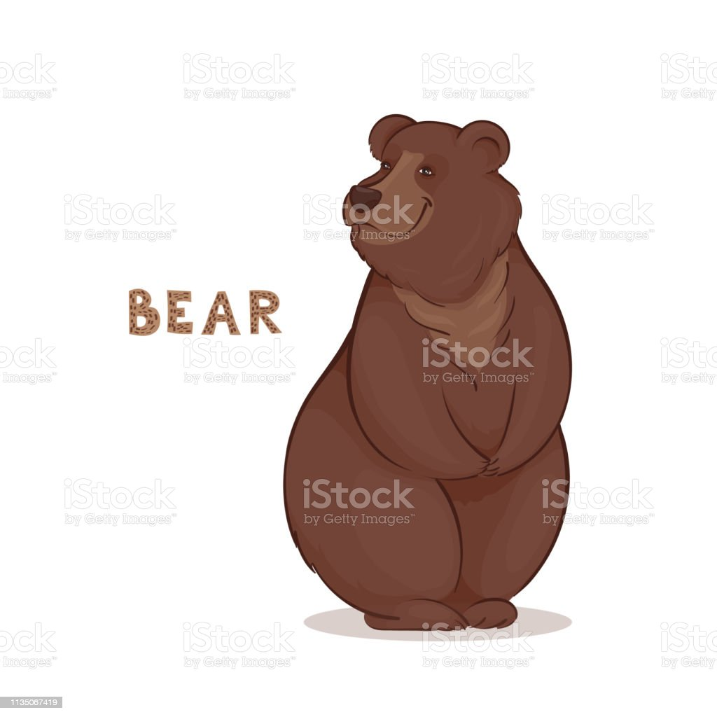 Vector illustration, a cartoon brown smiling bear