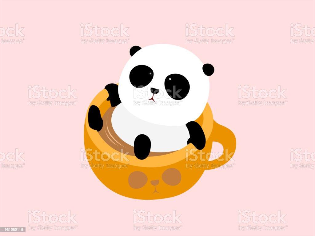 ベクトル イラスト かわいい漫画ジャイアント パンダが一杯のコーヒー