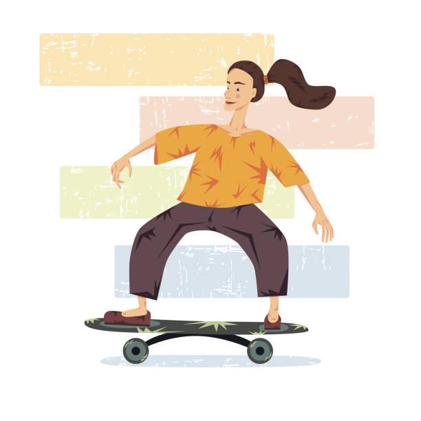 vektor-illustration. ein mädchen auf einem skateboard. thema sport und reisen. keds. - keds stock-grafiken, -clipart, -cartoons und -symbole