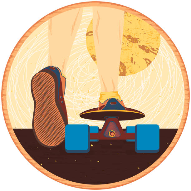 vektor-illustration. ein mann auf einem skateboard vor dem hintergrund des mondes. thema sport und reisen. keds. - keds stock-grafiken, -clipart, -cartoons und -symbole