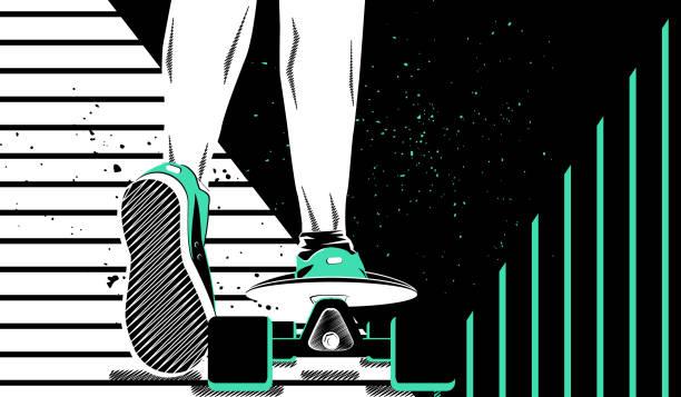 vektor-illustration. ein mann auf einem skateboard. thema sport und reisen. keds. - keds stock-grafiken, -clipart, -cartoons und -symbole