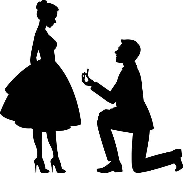 提案は女性と結婚するが、彼の膝に男のベクトル図 - 婚約点のイラスト素材/クリップアート素材/マンガ素材/アイコン素材