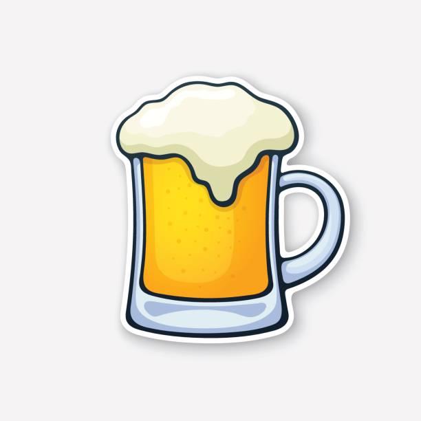 Ilustração em vetor. Uma caneca de cerveja com espuma. Copo de bebida de álcool. Bebida de espuma clássico de pubs e bares. Vinheta no estilo cartoon com contorno. Isolado no fundo branco - ilustração de arte em vetor