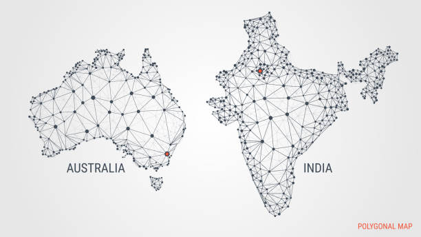 Australia India Map.Best India Vs Australia Illustrations Royalty Free Vector Graphics