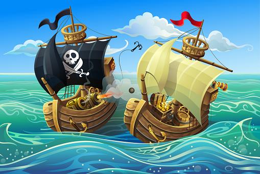 Vector illustration. A sea battle of wooden ships. Pirates ship.