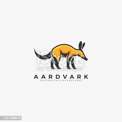istock Vector Illustration Aardvark Walking Mascot Cartoon. 1201336073