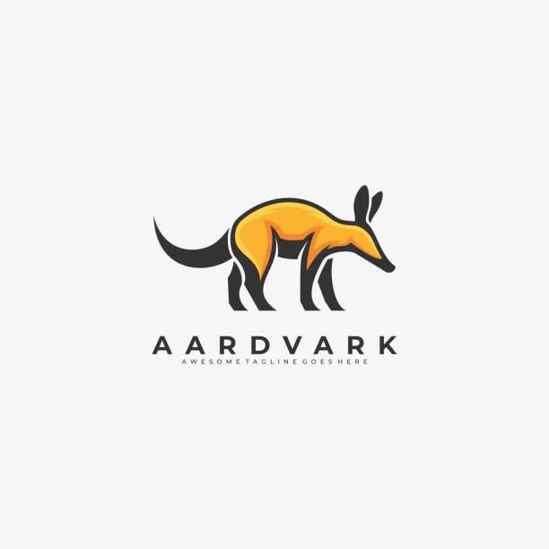 vektor-illustration aardvark gehen maskottchen cartoon. - ameisenbär stock-grafiken, -clipart, -cartoons und -symbole