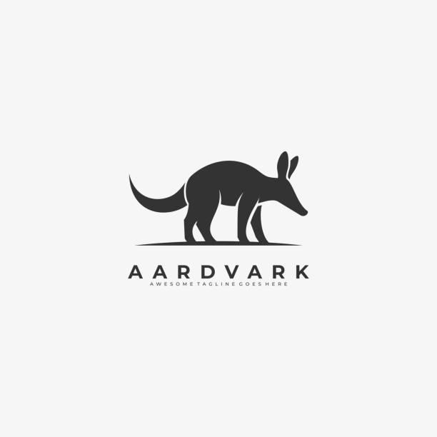 bildbanksillustrationer, clip art samt tecknat material och ikoner med vektor illustration aardvark walking silhouette. - abstract silhouette art