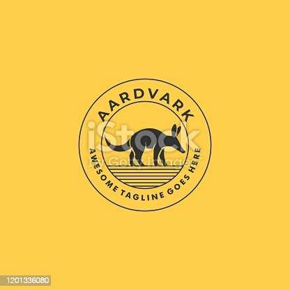 Vector Illustration Aardvark Walking Vintage Badge.