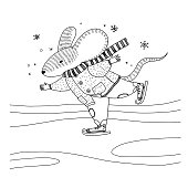 Vector illustration about a mouse in warm coat, scarf and pants is skating. Animal illustration for kids for coloring book