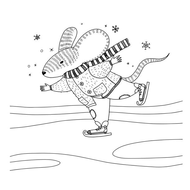 vector illustration about a mouse in warm coat, scarf and pants is skating. animal illustration for kids for coloring book - coloring book pages templates stock illustrations