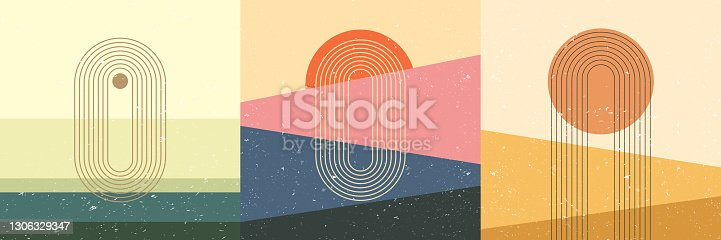 Vector illustration. Abstract backdrop set. Contemporary backgrounds. Mid century wall decor. Design elements for social media, blog post, web template, card. 60s, 70s graphic. Grunge texture