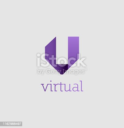 istock Vector Illustration. Abstract Colorful V logo 1162988497