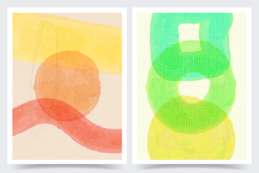 Vector illustration. Abstract contemporary aesthetic backgrounds. Design for cover, poster, postcard, card, flyer, brochure. Shapes and lines. Wall decor. Modern art print. Watercolor painting