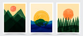 Vector illustration. Abstract contemporary aesthetic backgrounds. Design for cover, poster, brochure, magazine, postcard, flyer, wallpapers. Interior wall decor. Watercolor painting. Nature scene