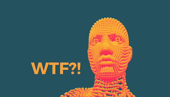 WTF? 3D vector illustration. Abstract digital human head. Can be used as a poster, postcard or banner.