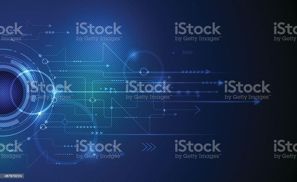 Vector illustration Abstract futuristic eyeball on circuit board - Royalty-free 2015 stock vector