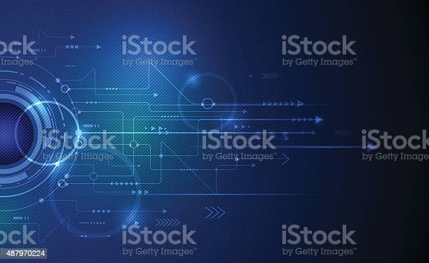 Vector Illustration Abstract Futuristic Eyeball On Circuit Board Stock Illustration - Download Image Now