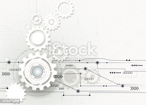 Vector illustration Abstract futuristic,3d white paper gear wheel with paper arrow symbol on circuit board, high computer engineering - speed technology concept . Light gray color background with blank space for your design