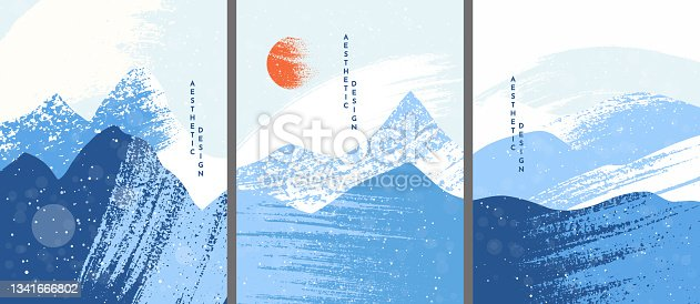 istock Vector illustration. Abstract landscape background. Ink brush stroke drawing. Vintage retro art style. Design elements for poster, cover, magazine, postcard. Blue, white color. Winter cold snow season 1341666802