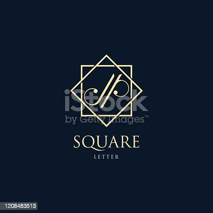 istock Vector Illustration Abstract Letter J and P With Square Luxury Style. 1208483513