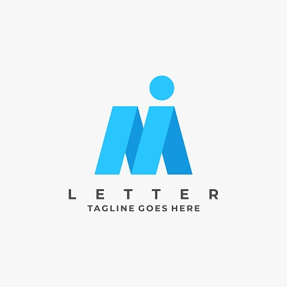 Vector Illustration Abstract Letter M and I Line Art Style.
