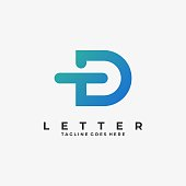 Vector Illustration Abstract Letter T D Line Shape Colorful Style.