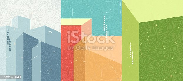 Vector illustration. Abstract minimalist polygonal shapes. Building with shadows. Design for poster, cover, brochure. Wavy topographic linear pattern. Scratches old paper effect. Retro bright color