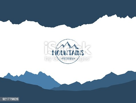 Vector illustration: Abstract mountains background with Hand drawn emblem. Silhouette of landscape.