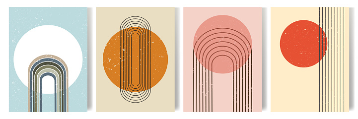Vector illustration. Abstract poster set. Contemporary backgrounds.  Mid century wall decor. Design elements for book cover, page template, print, card, brochure, magazine, poster. 60s, 70s graphic.