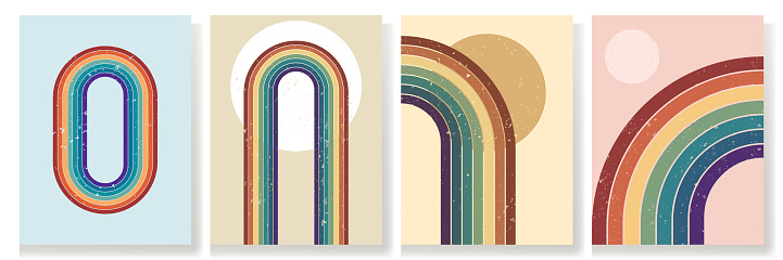 Vector illustration. Abstract poster set. Contemporary backgrounds. Colorful rainbow. Design elements for book cover, page template, print, card, brochure, magazine, poster. 60s, 70s retro graphic