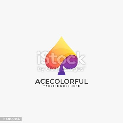 istock Vector Illustration Ace Gradient Colorful Style 1208483347
