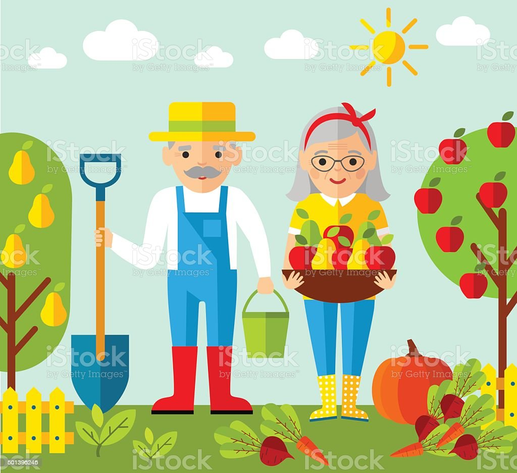 Ilustração em vetor adulto gardener família e paisagem com conceito de jardinagem - ilustração de arte em vetor