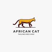 Vector Illustration African Cat Walking Mascot Cartoon Style.