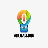 Vector Illustration Air Balloon Gradient Colorful Style.