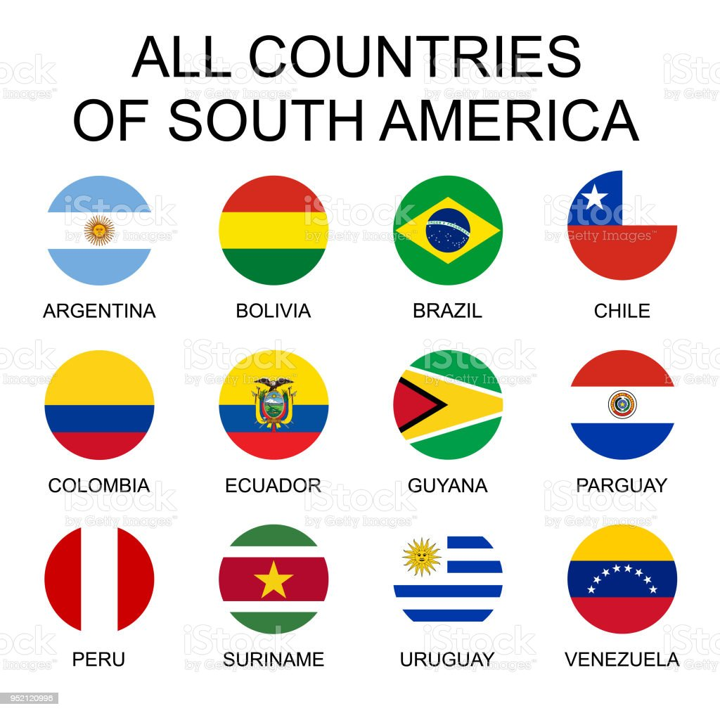 Vektor-Illustration alle Flaggen in Südamerika. Alle Länder in Südamerika, runde Form Fahnen. – Vektorgrafik