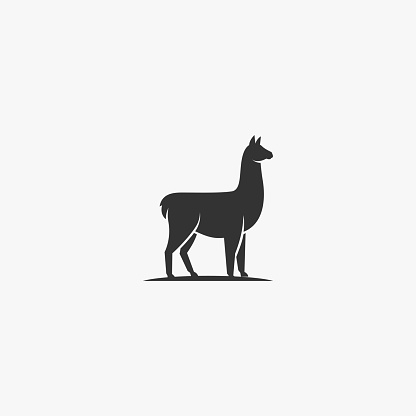 Vector Illustration Alpacas Elegant Silhouette Style.