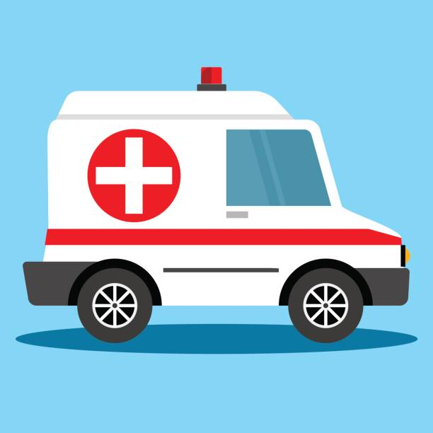 Vector illustration ambulance car. Ambulance auto paramedic emergency. Ambulance vehicle medical evacuation. vector art illustration