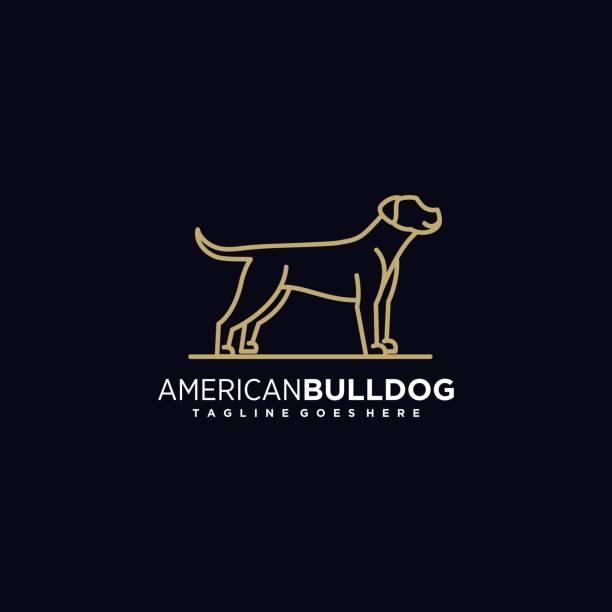 bildbanksillustrationer, clip art samt tecknat material och ikoner med vector illustration amerikansk bulldog gradient line art style. - hunddjur