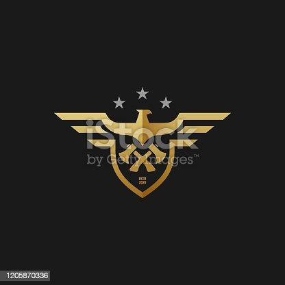istock Vector Illustration American Eagle Builder Badge Style. 1205870336